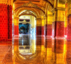 Gorgeous tiled floors and golden architecture in the Mahamuni Buddha Temple